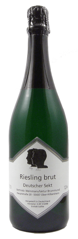 Flasche Riesling Sekt Brut der Weinmanufaktur Brummund