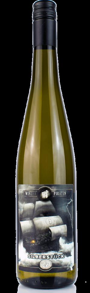 Weinflasche Winzerpirat Silberstück der Weinmanufaktur Brummund
