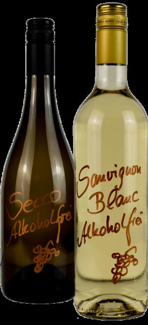 Zwei Weinflaschen alkoholfrei der Weinmanufaktur Brummund