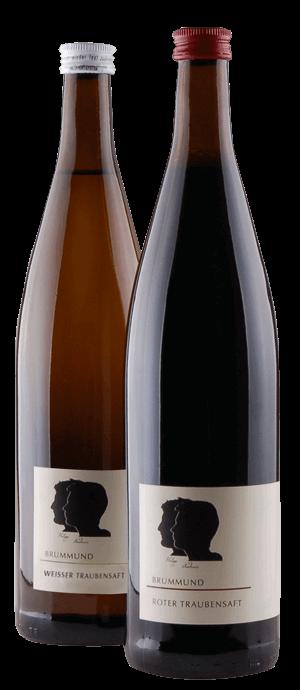 Flaschen weißer und roter Traubensaft der Weinmanufaktur Brummund