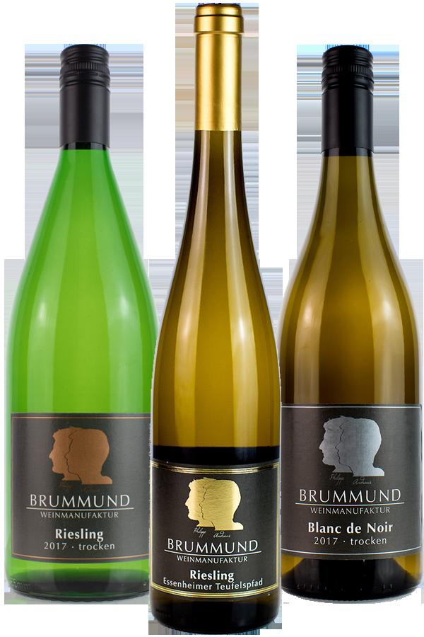 Weinflaschen Riesling, Blanc de Noir, Riesling der Weinmanufaktur Brummund